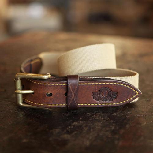 The Middelburg Canvas Waist Belt, leather, canvas embossing, brass buckle