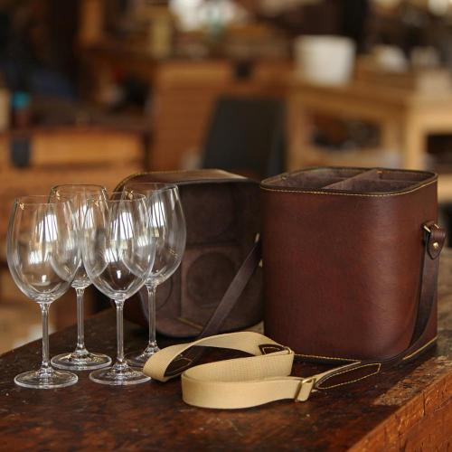 wine, leather, crystal, stemware, carrier, hand stitched, hand made