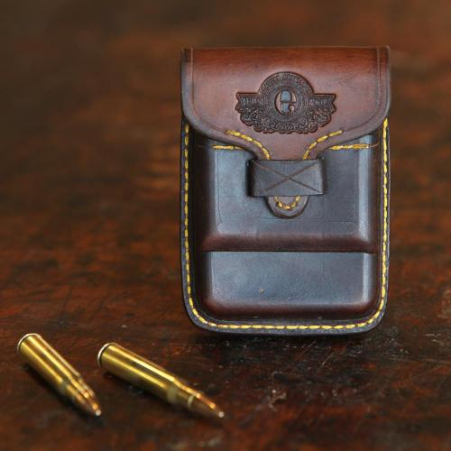 The Rhodes Cartridge Pouch, bullets, leather, handcrafted, yellow stitching, logo