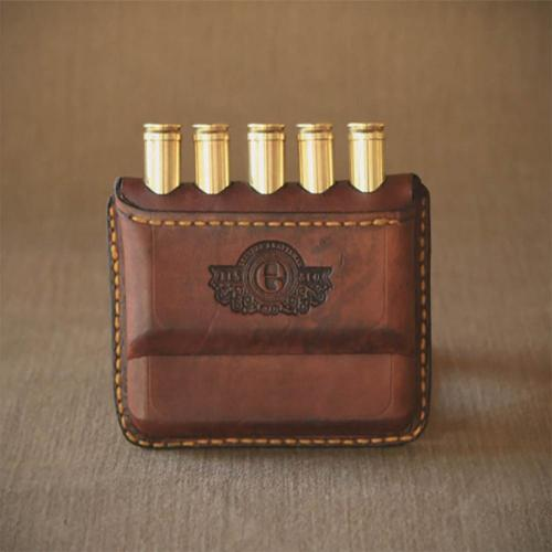 Rhodes Open Pouch, leather pouch, cartridge, embossing, yellow stitching