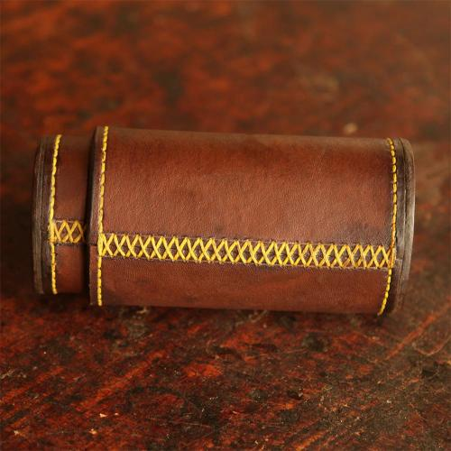 The Ladysmith Spectacle Case, cross-stitching, yellow stitching, leather product, handcrafted