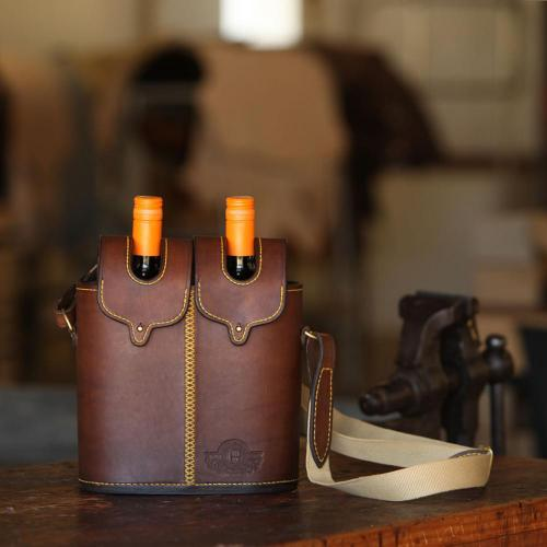 wine carrier, leather, leather product, wine bottles