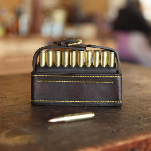 Barkly II, cartridges, cartridge pouch, leather pouch, hunting pouch, craftsmanship, yellow stitching