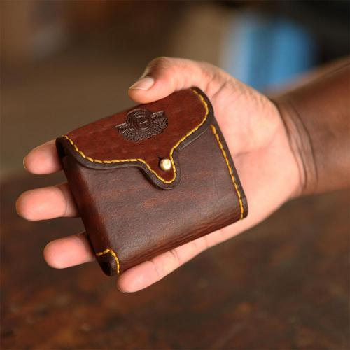 leather wallet, customised leather wallet, brass stud, yellow stitching, mini wallet