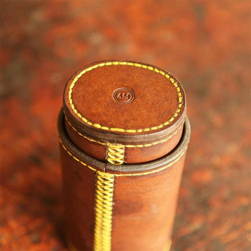 The Ladysmith Spectacle Case, yellow stitching, leather product, handcrafted, initials