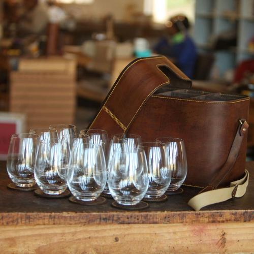 12 glass carrier, stemless glasses, leather carrier