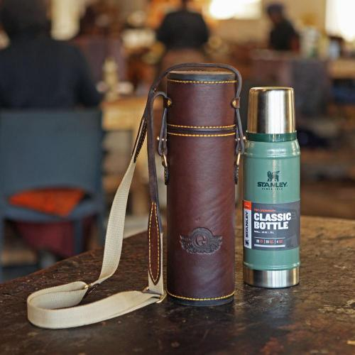 The Diepkloof Flask & Sleeve - 500ml Stanley, yellow stitching, leather products, coffee flask, cotton canvas strap, yellow stitching, logo